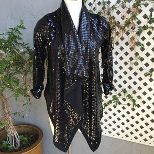 WET SEAL Black Shimmer Sequin Open Cardigan Sz Lg